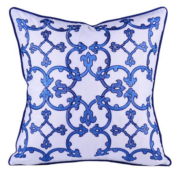 Cushions - KINLEY Blue And White Patterned Cushion Cover 50 Cm By 50 Cm | Hamptons Home