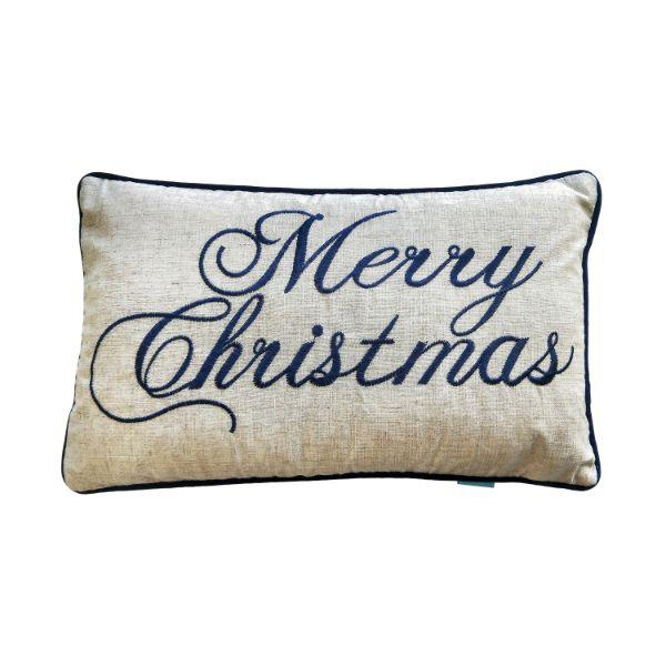 MERRY CHRISTMAS Dark Blue and Jute Cushion Cover 30 cm by 50 cm | Hamptons Home