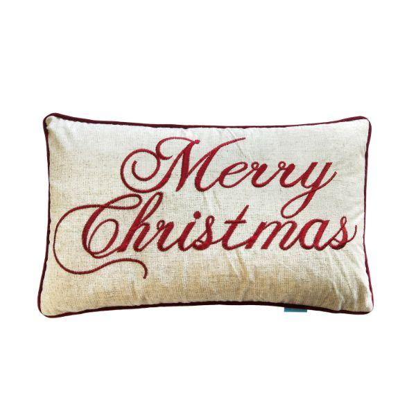 MERRY CHRISTMAS Red and Jute Cushion Cover 30 cm by 50 cm | Hamptons Home