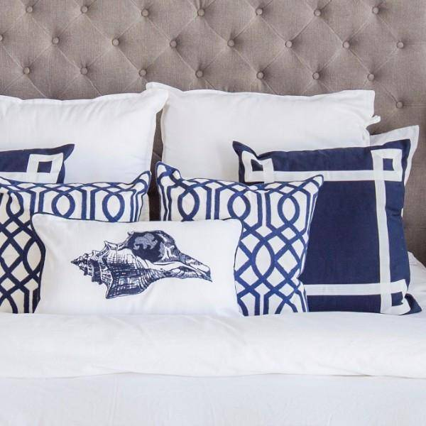 MIRAGE Hamptons Home Geometric Blue and White Cushion Cover - Hamptons Home {product_type]