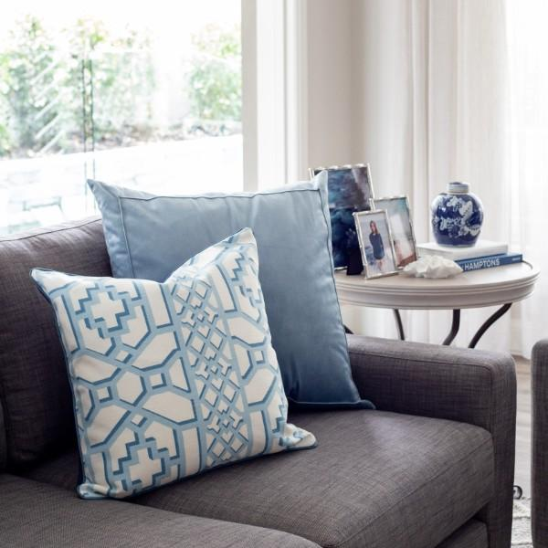 SHILOH Light Blue and White Geometric Print Cushion Cover 50 cm by 50 cm - Hamptons Home {product_type] Hamptons style Furniture
