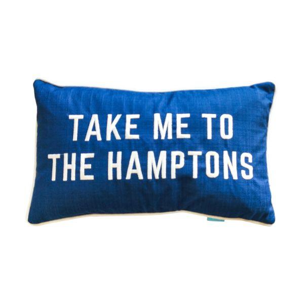 TAKE ME TO THE HAMPTONS Blue and White Cushion  Cover 30 cm by 50 cm | Hamptons Home