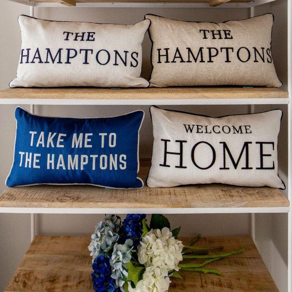 Cushions - TAKE ME TO THE HAMPTONS Blue And White Cushion Cover 30 Cm By 50 Cm