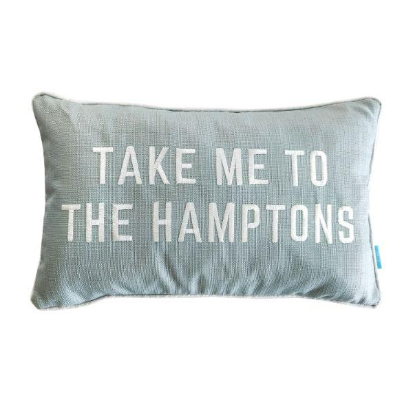 Cushions - TAKE ME TO THE HAMPTONS Teal And White Cushion Cover 30 Cm By 50 Cm