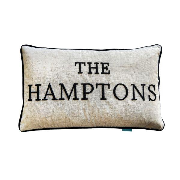 THE HAMPTONS Black and Jute Cushion Cover 30 cm by 50 cm | Hamptons Home