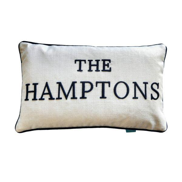 THE HAMPTONS Navy Blue and White Cushion Cover 30 cm by 50 cm | Hamptons Home