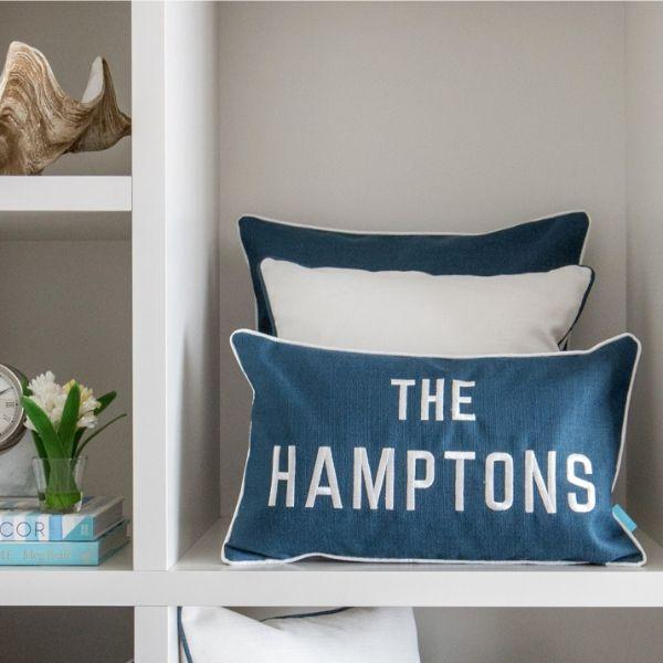 THE HAMPTONS Teal Blue and White Cushion Cover 30 cm by 50 cm - Hamptons Home {product_type]