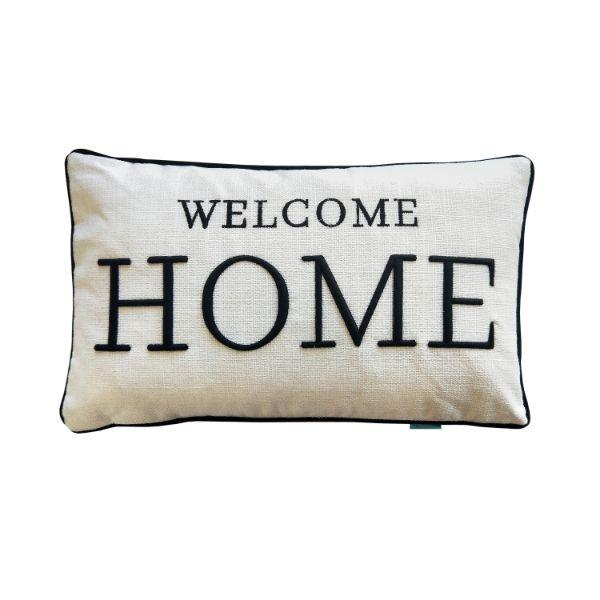 WELCOME HOME Black and White Cushion Cover 30 cm by 50 cm | Hamptons Home