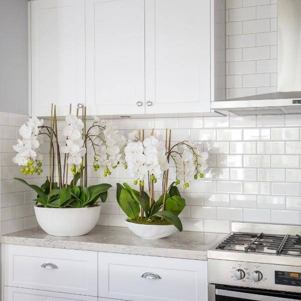 Real Touch Phalaenopsis Orchids in XL White Pot 75 cm H - Hamptons Home {product_type] Hamptons style Furniture
