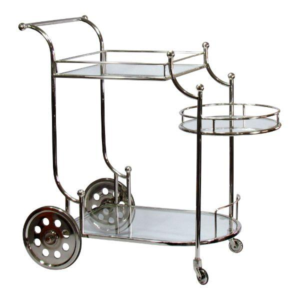 Furniture - Oswald Chrome Bar Cart Large Wheels 85 Cm H | Hamptons Home