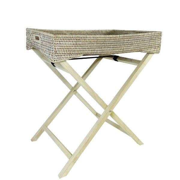 Furniture - White Wash Rattan Angkai Butler Tray Table 71 Cm H