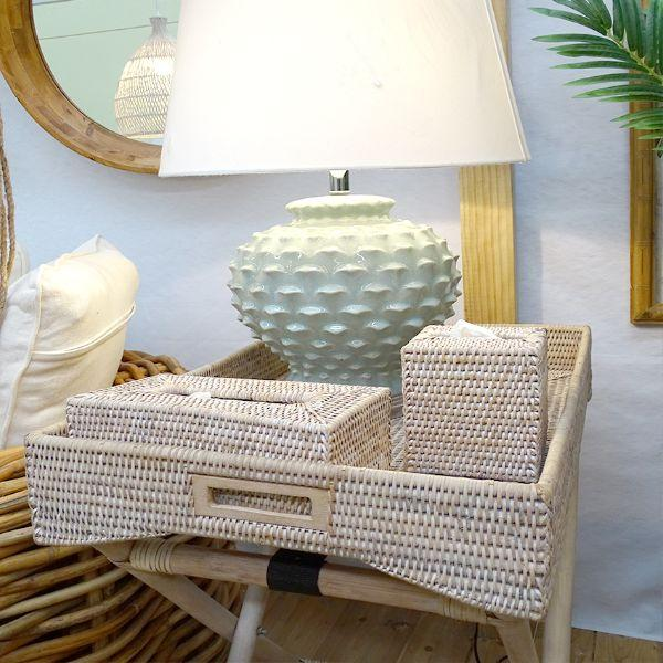 Furniture - White Wash Rattan Angkai Butler Tray Table 71 Cm H | Hamptons Home