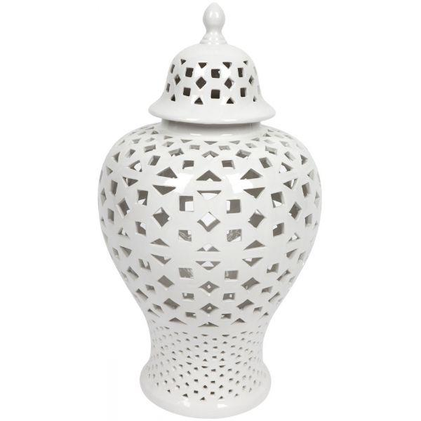 Ginger Jars - Gloss White Glaze Mariah Temple Jar – Large 59 Cm H