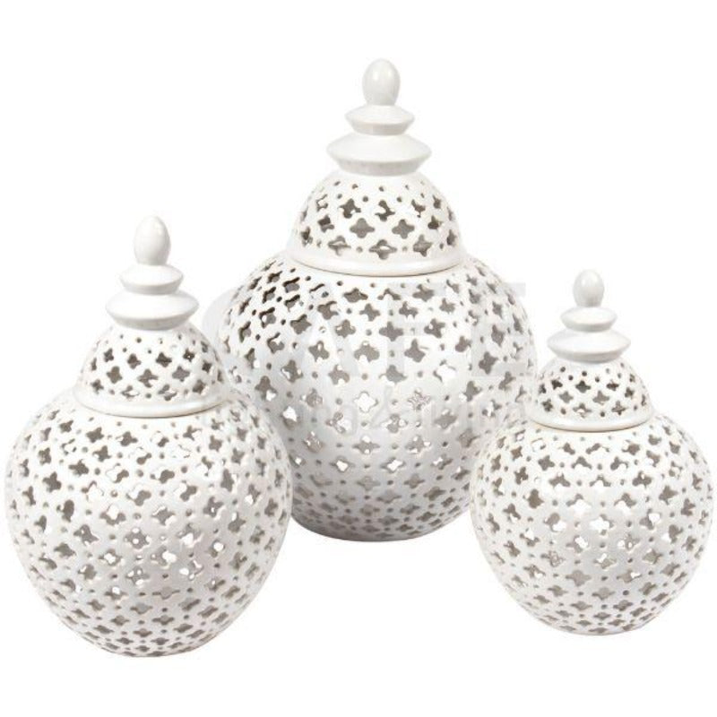 Ginger Jars - Gloss White Miccah Temple Jar Medium 32 Cm