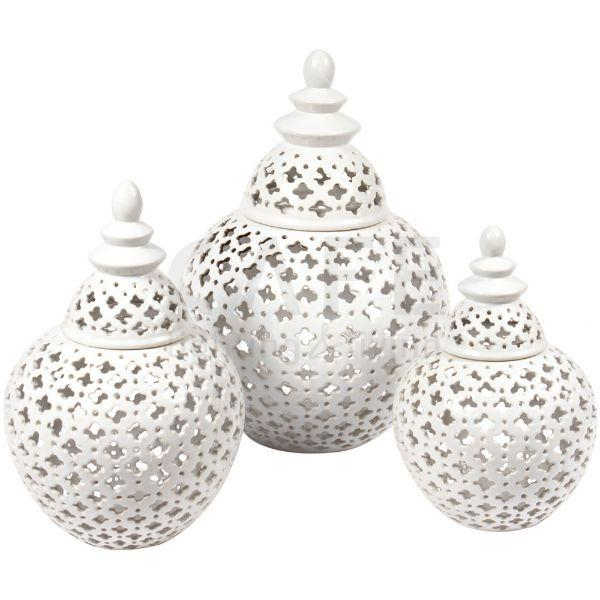 Ginger Jars - Gloss White Miccah Temple Jar White Small 26 Cm