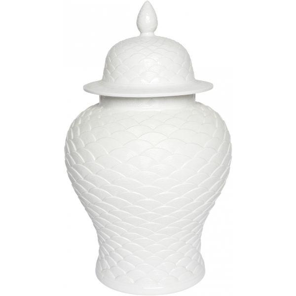 Ginger Jars - Leopolda White Porcelain Temple Jar 59 Cm H