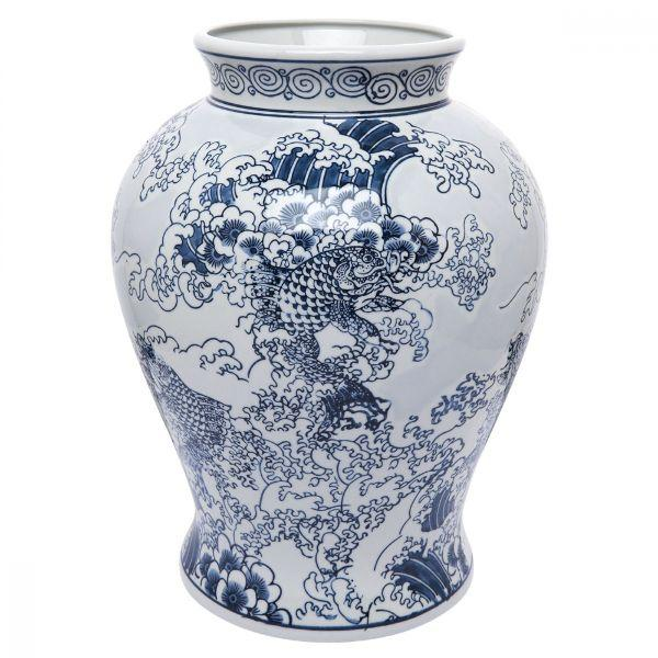 Ginger Jars - Saint Temple Jar Classic Ocean Spray And Koi Scene – 38 Cm H