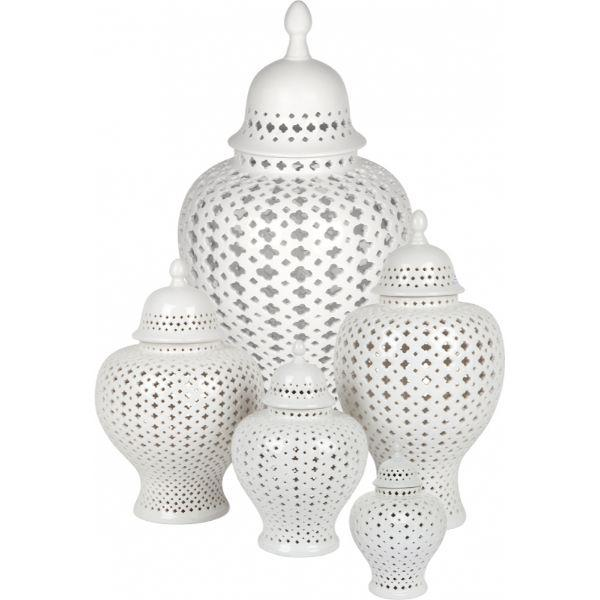 Ginger Jars - White Extra Small Minx Temple Jar 21 Cm