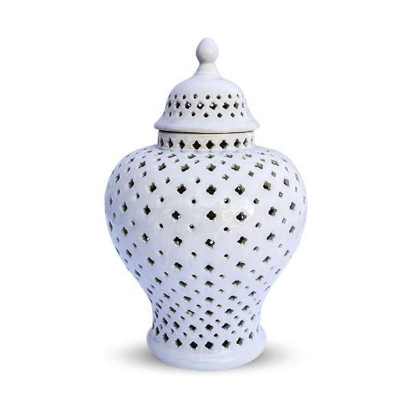 White Extra Small Minx Temple Jar 21 cm - Hamptons Home {product_type] Hamptons style Furniture