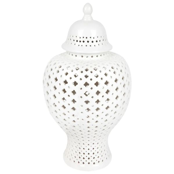 White Small Minx Temple Jar 39 cm H | Hamptons Home