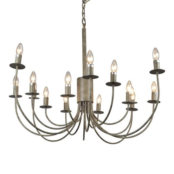 Hanging Lights - 16 Arm Taupe Chandelier Light 105 Cm