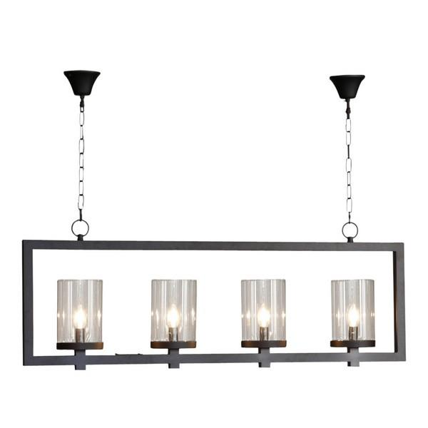 Hanging Lights - 4 Light Black Iron & Glass Pendant