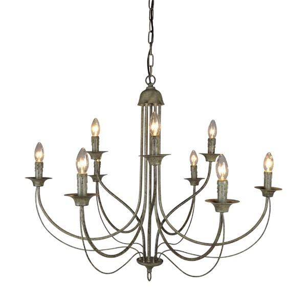 Hanging Lights - 9 Arm Taupe Chandelier Light  90 Cm