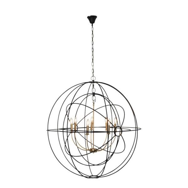 Hanging Lights - Black And Brass Iron Orb Pendant Large 102 Cm