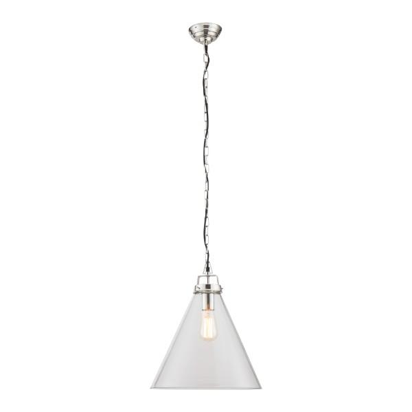 Clear Glass Nickel Pendant Light Large 37 cm | Hamptons Home