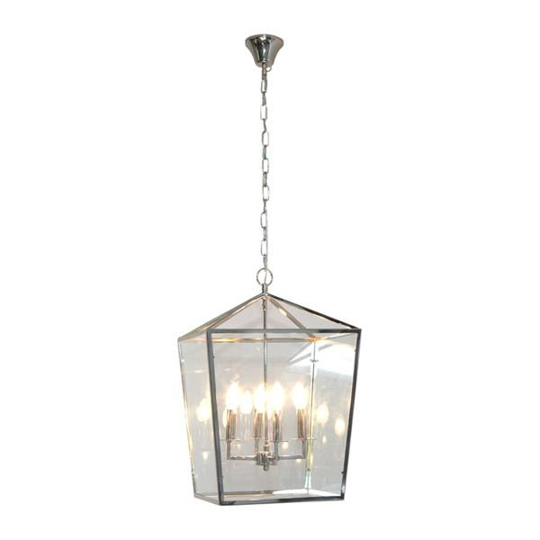 Hanging Lights - Elegant Nickel Cube Pendant Light 46 Cm