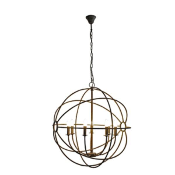 Hanging Lights - Iron Orb Taupe Chandelier Light | Hamptons Home