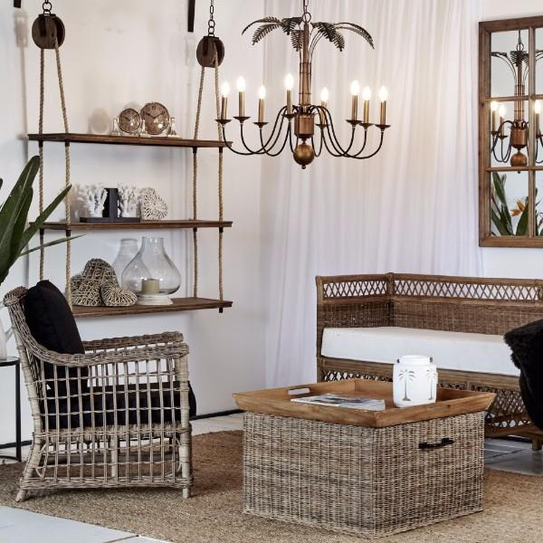 Hanging Lights - Palm Leaves Chandelier Light 90 Cm | Hamptons Home