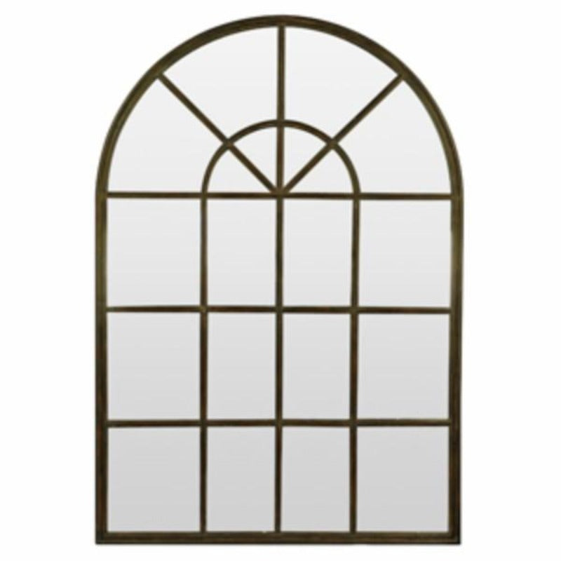 Home Decor - Antique Iron Arch Wall Mirror With Panes 107 Cm