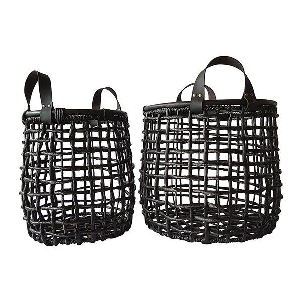 Home Decor - Black Baskets Leather Handles Set Of 2 45 cm H