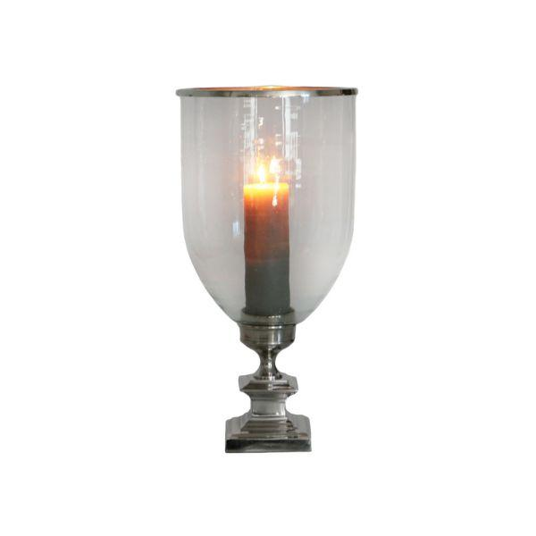 Home Decor - Large Glass Nickel Hurricane Square Base 53 Cm | Hamptons Home