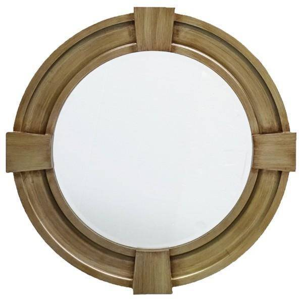 Massey Timber Mirror 80 cm Dia - Hamptons Home {product_type] Hamptons style Furniture