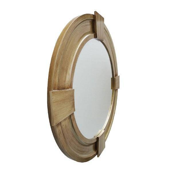 Massey Timber Mirror 80 cm Dia | Hamtpons Home