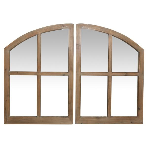 Home Decor - Natural Arched Wood Wall Mirrors Set Of 2 130 Cm