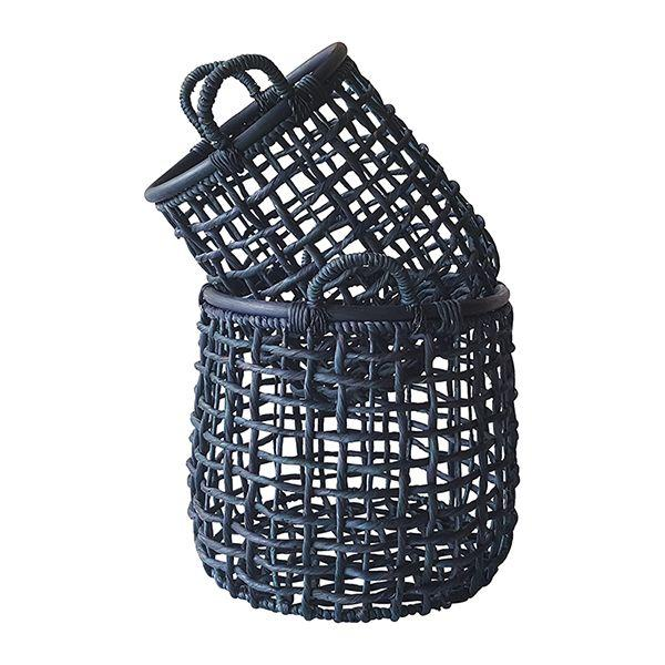 Home Decor - Navy Open Weave Baskets Set Of 2 50 Cm H