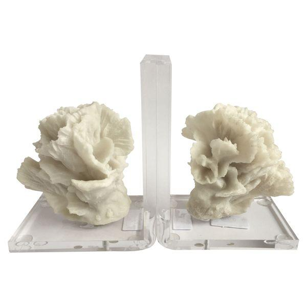 Home Decor - Pair Of White And Clear Coral Bookends 17 Cm H | Hamptons Home
