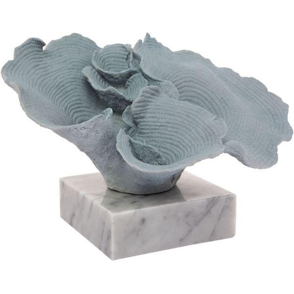 Reef Faux Coral Seafoam Blue on Marble Base 34 cm W | Hamptons Home