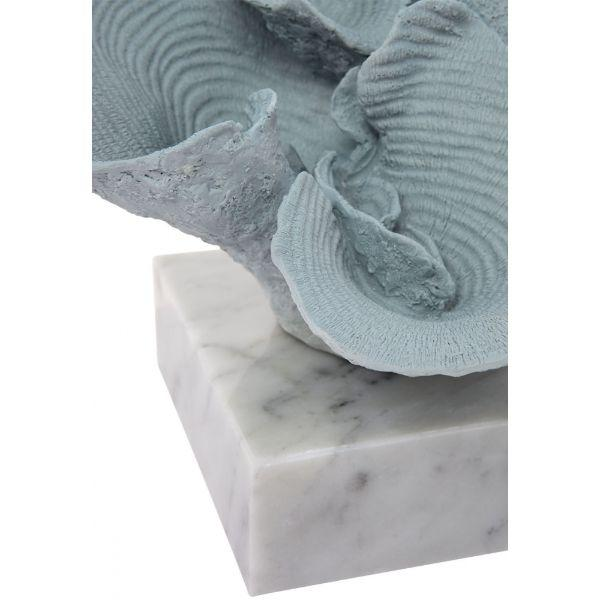 Home Decor - Reef Faux Coral Seafoam Blue On Marble Base 34 Cm W