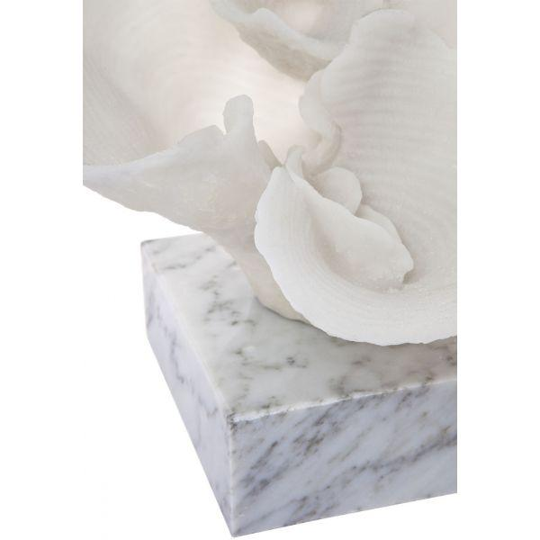 Home Decor - Reef Faux Coral White On Marble Base 34 Cm W