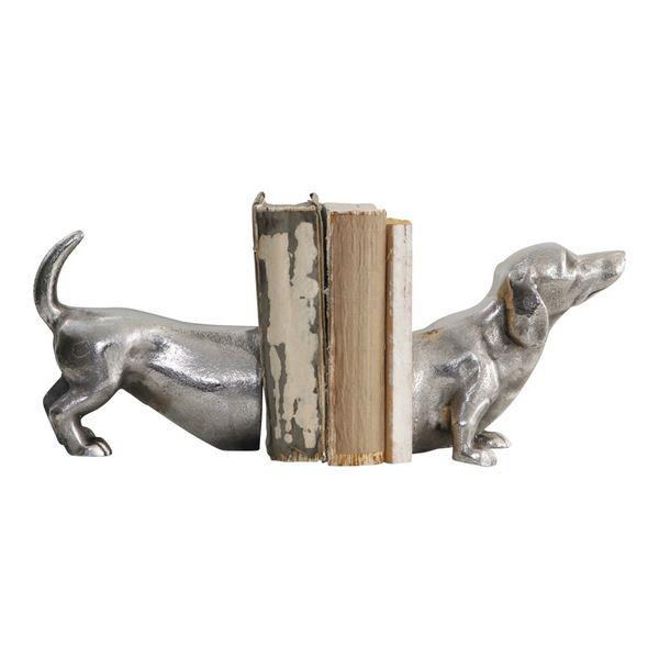 Home Decor - Sausage Dog Bookends Raw Aluminum