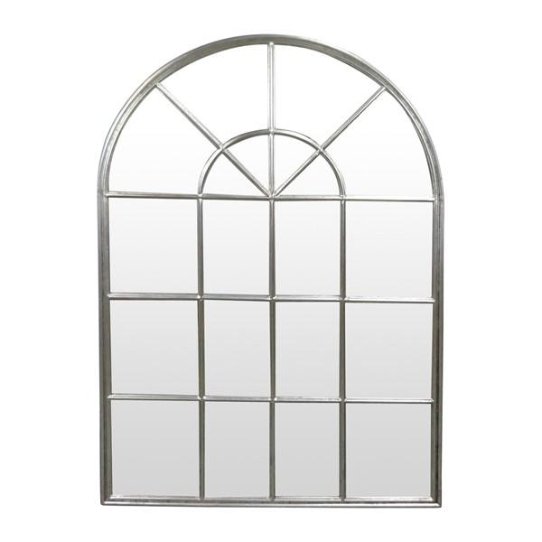Home Decor - Silver Iron Arch Wall Mirror With Panes 107 Cm