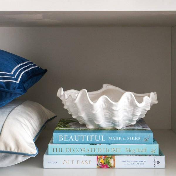 White Ceramic Clam Bowl 25 cm Dia - Hamptons Home {product_type]