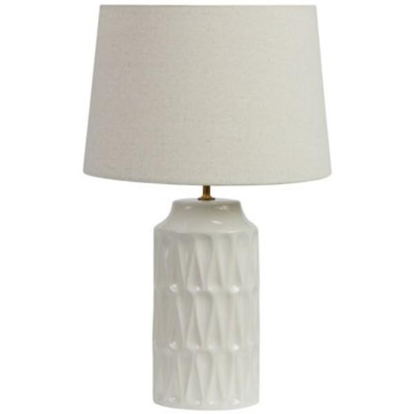 Agatha White and Cream Bedside Table Lamp | Hamptons Home
