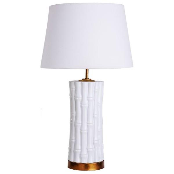 Bamboo White and Gold Bedside Table Lamp | Hamptons Home
