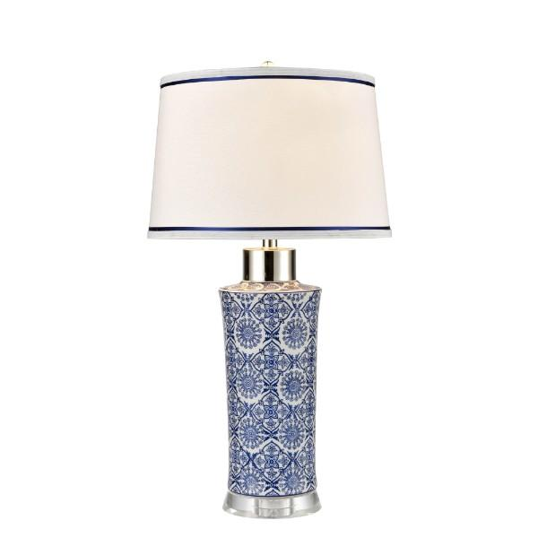 Lamps - Blue And White Ceramic Table Lamp With Trim Shade 73 Cm H