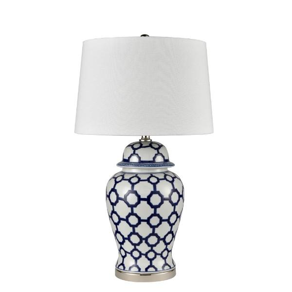 Lamps - Blue And White Jar Shaped Table Lamp With Shade 76 Cm H | Hamptons Home